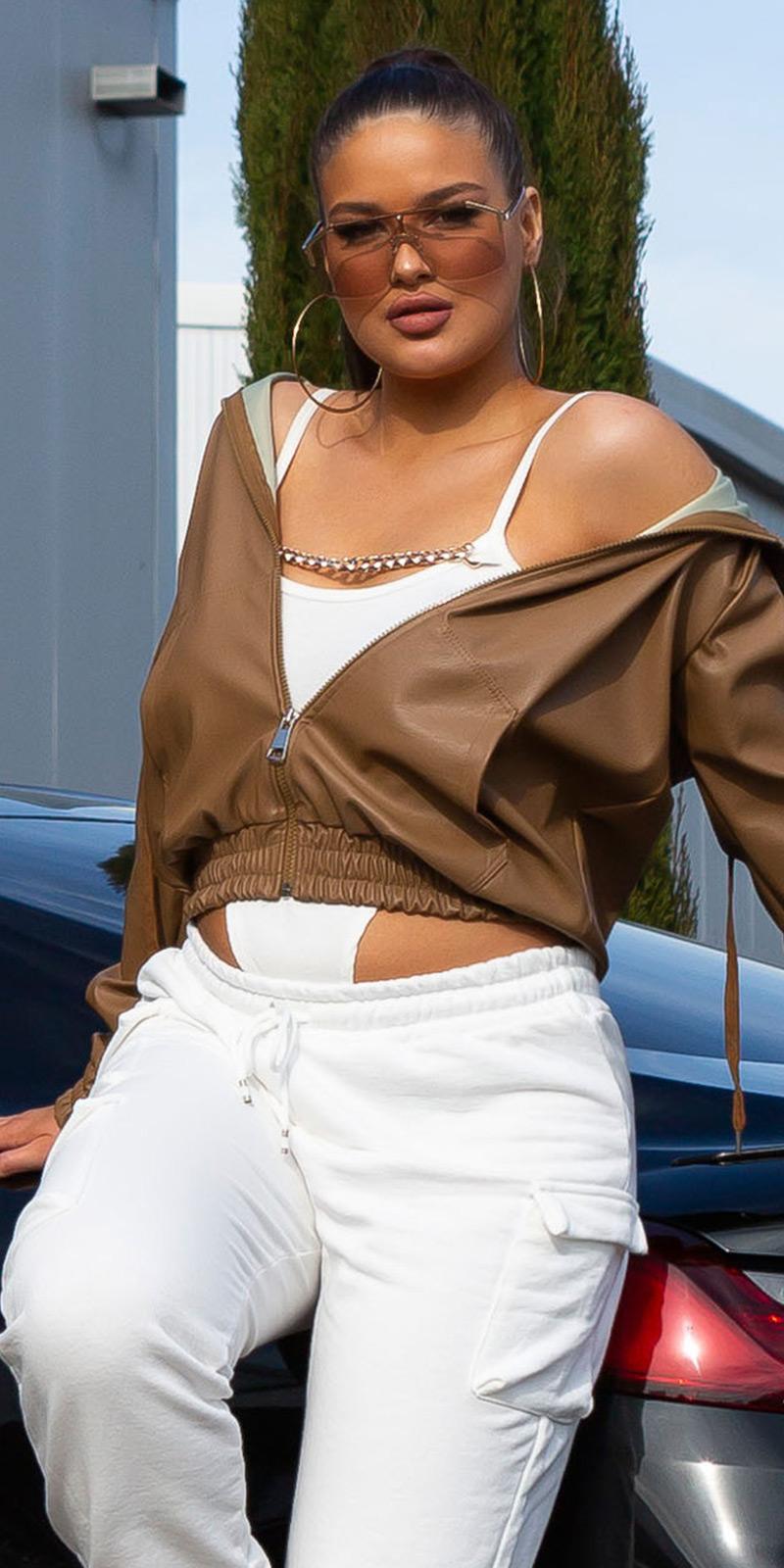 Jachete dama Super la moda piele ecologica cu fermoar