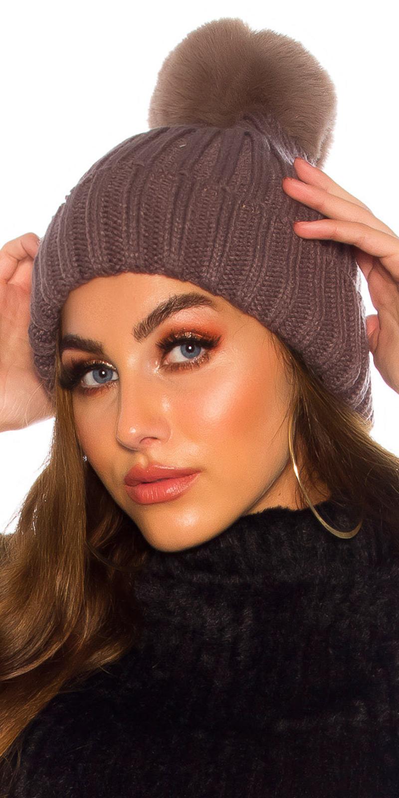 Palarie la moda Lined Winter cu Bobble