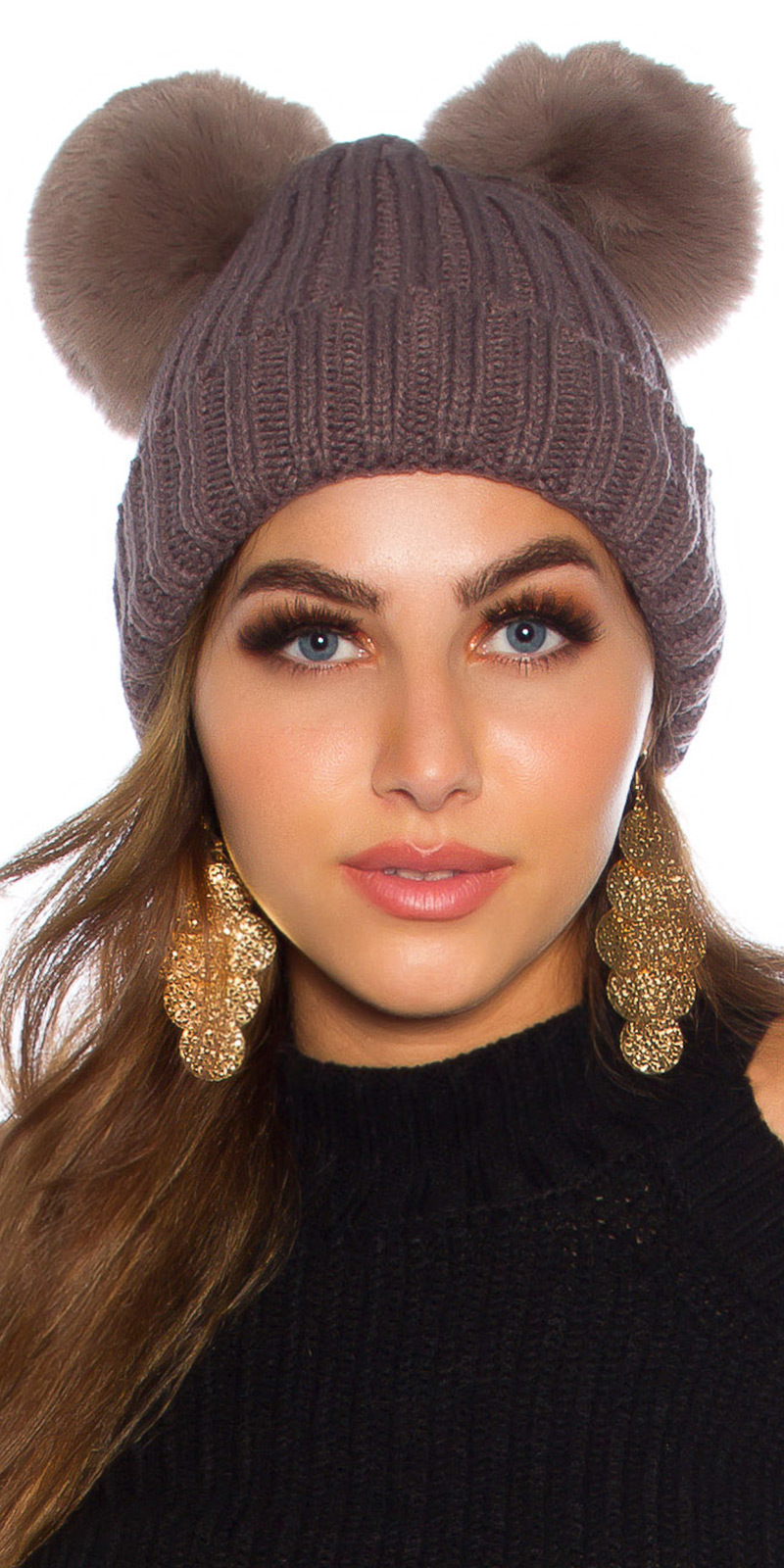 Palarie la moda Lined Winter double Pom Pom