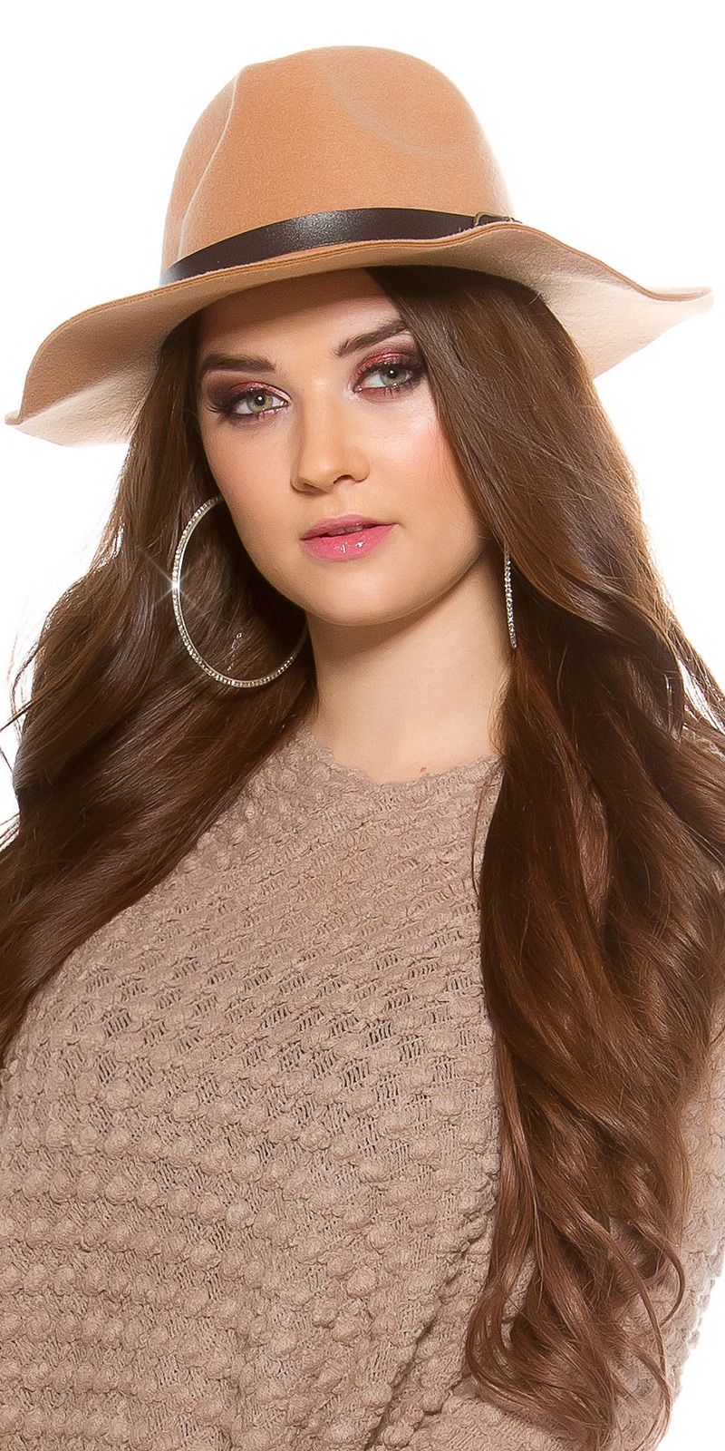 Palarie la moda fedora felt cu piele ecologica ribbon