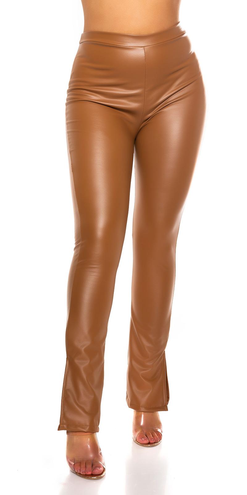 Pantaloni Sexy Bootcut piele ecologica cu side Slit