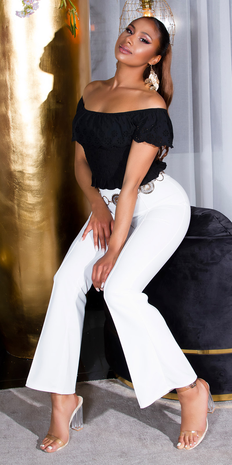 Pantaloni Sexy Flared Flattering cu elastic in talie