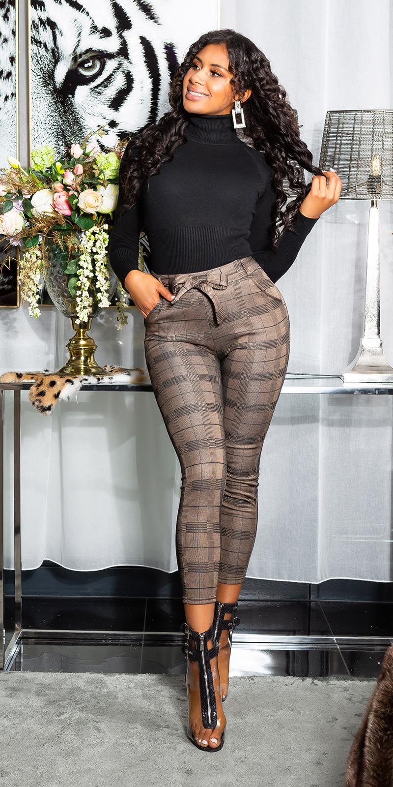 Pantaloni Sexy cu talie inalta Thermo cu curea