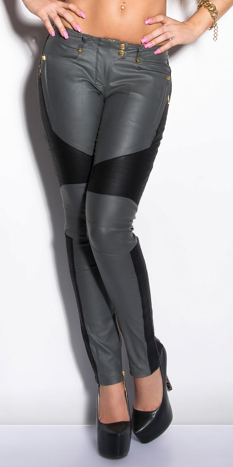 Pantaloni colanti sexy cu tinte si piele ecologica