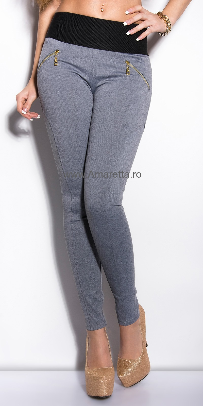 Pantaloni colanti sexy cu fermoars si wide waistline