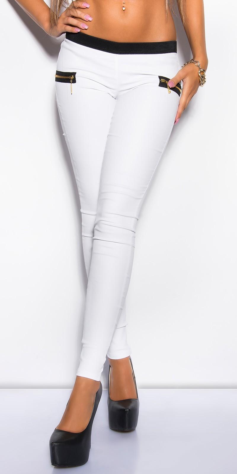 Pantaloni colanti sexy piele ecologica cu fermoar