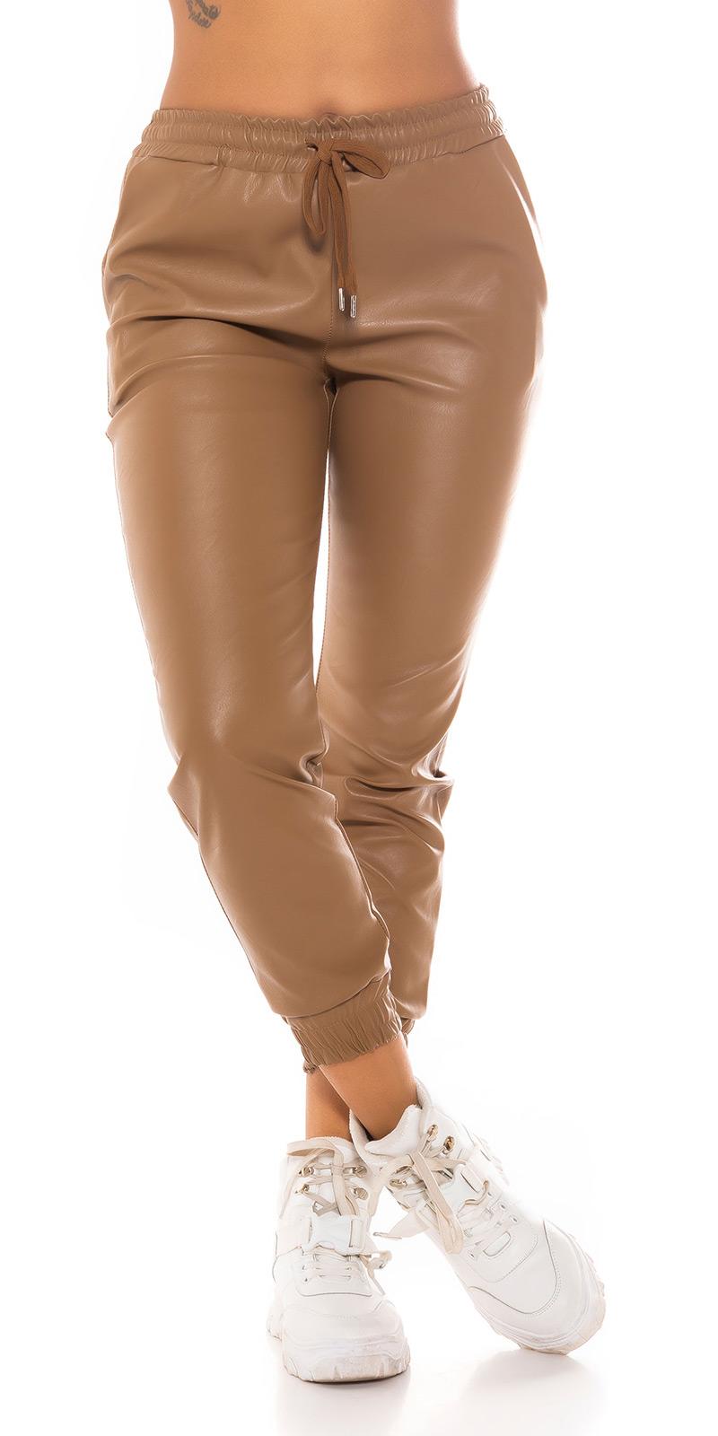 Pantaloni la moda piele ecologica Jogger Style
