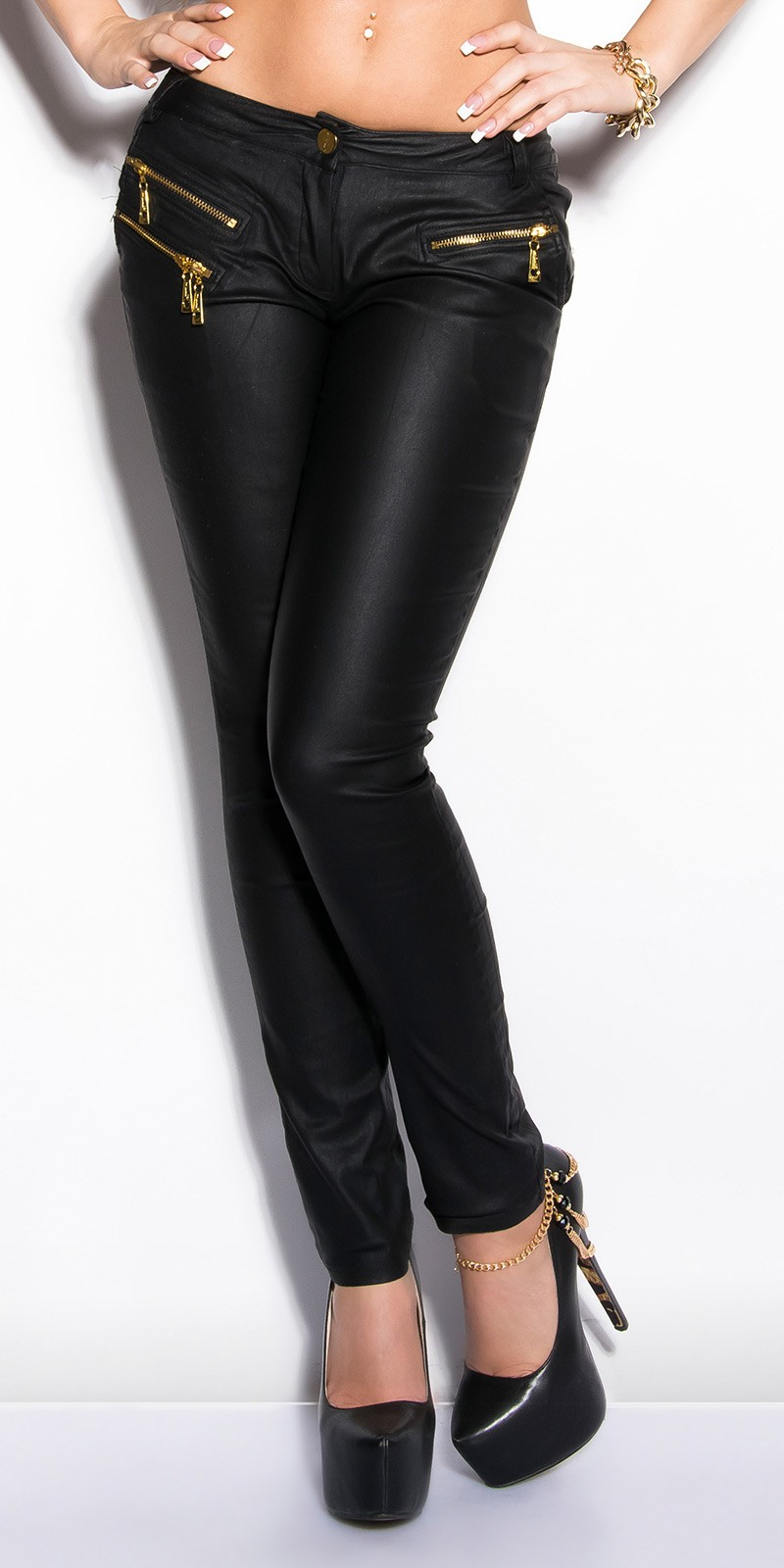 Pantaloni piele ecologica sexy cu fermoars