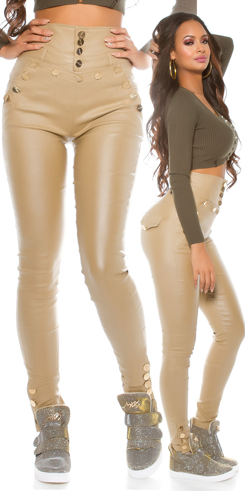 Pantaloni piele ecologica sexy cu talie inalta