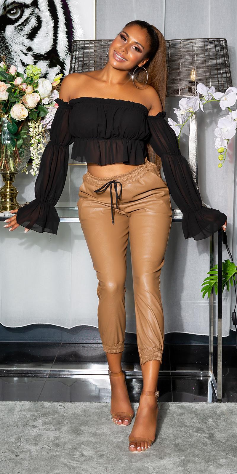 """Pantaloni la moda cu talie inalta piele ecologica """"Joggerstyle"""""""