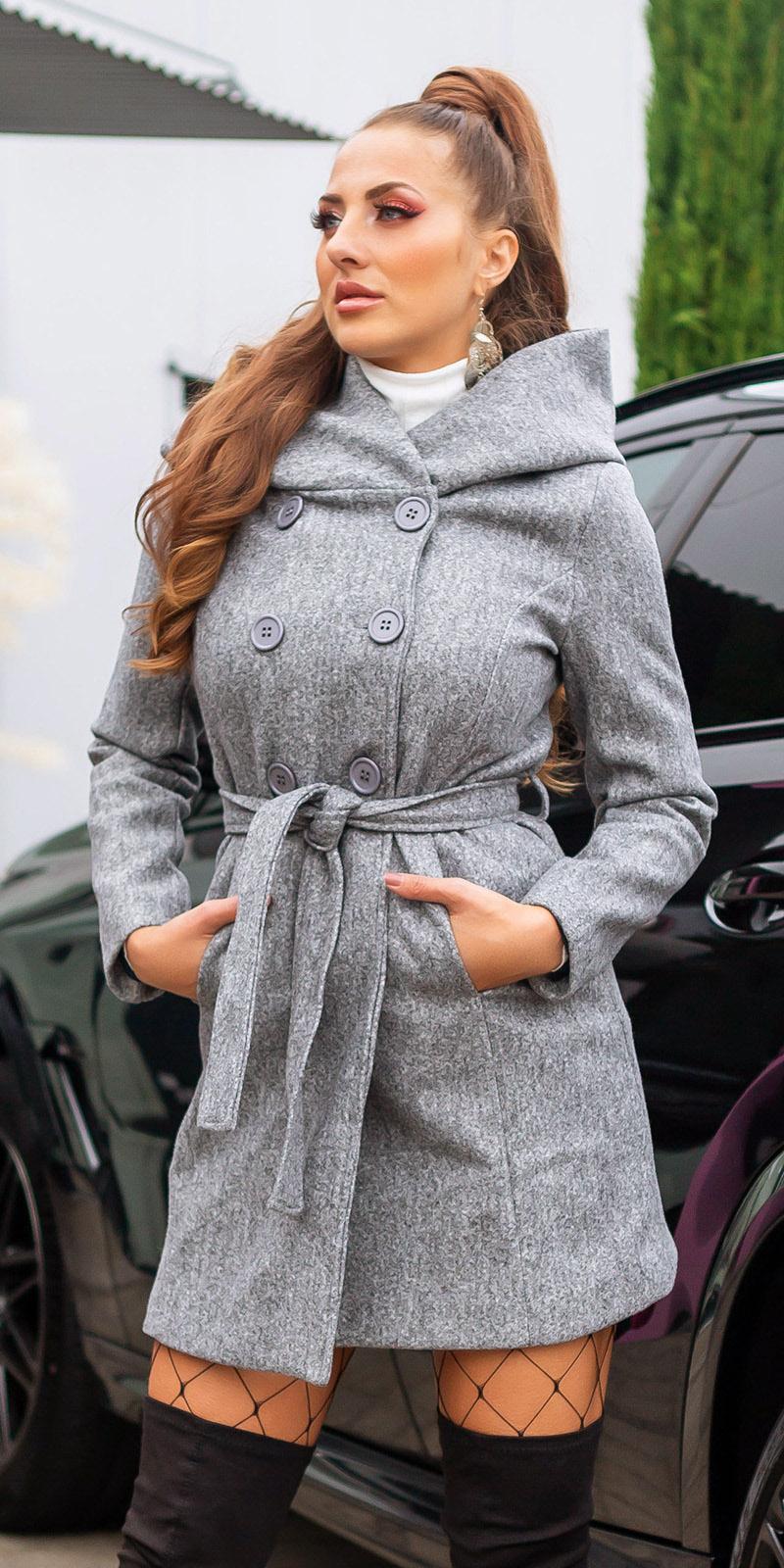 Pantaloni scurti sexy Coat cu gluga si curea