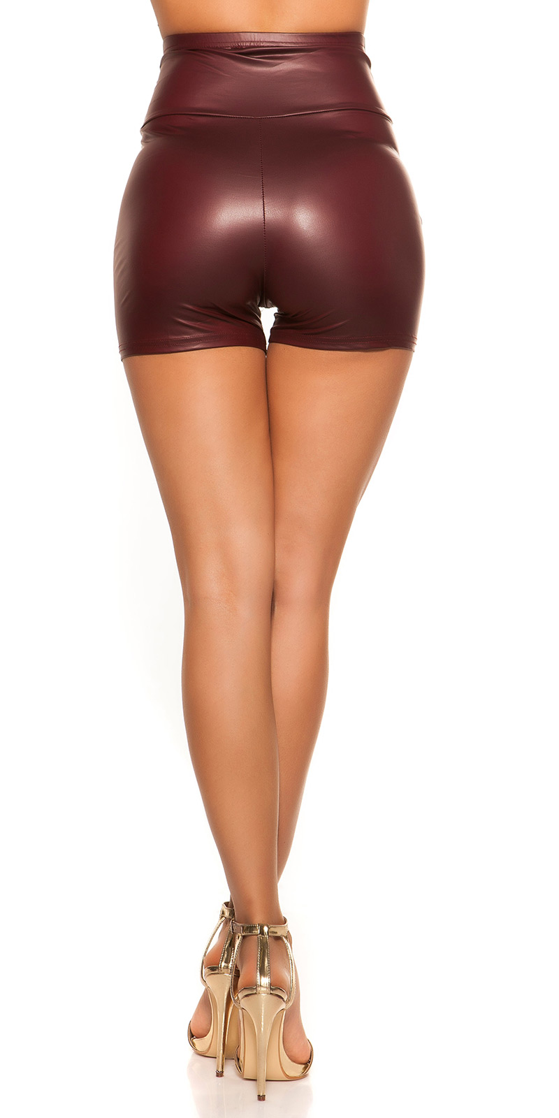 Pantaloni scurti sexy talie inalta aspect lucios