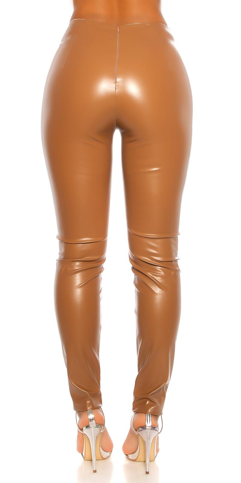 Pantaloni sexy cu talie inalta piele ecologica