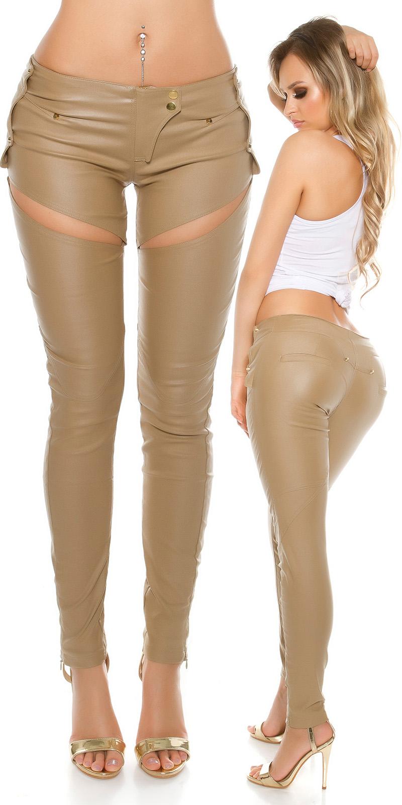 Pantaloni sexy piele ecologica cu Sexy decupaje