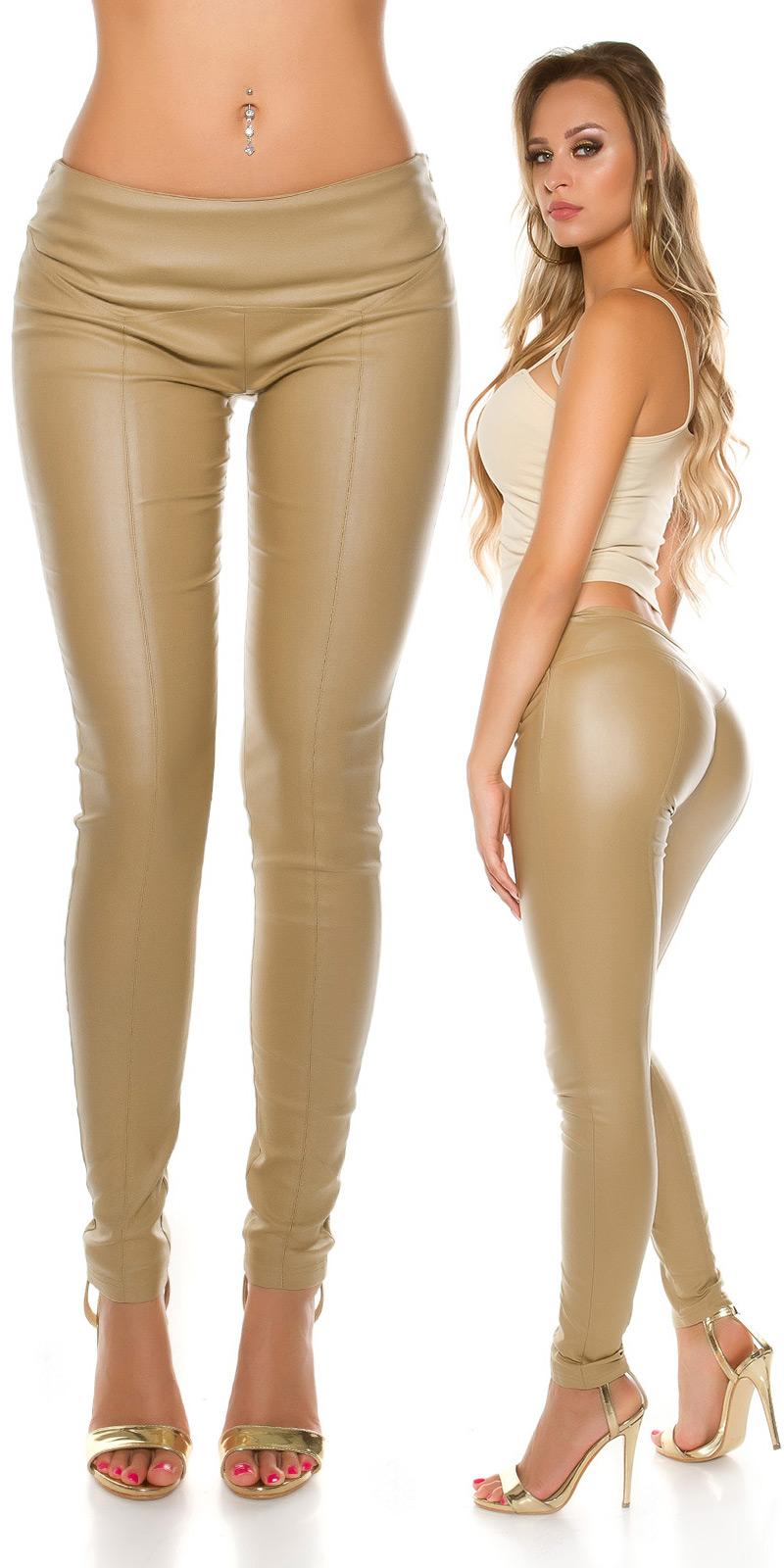 Pantaloni sexy piele ecologica cu decor seams