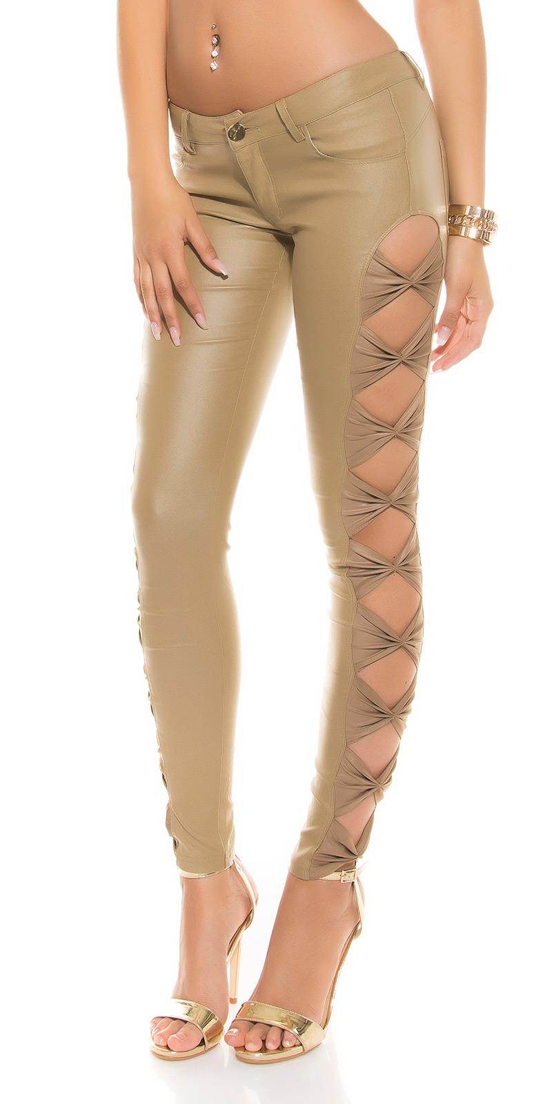 Pantaloni sexy piele ecologica cu fundite laterale