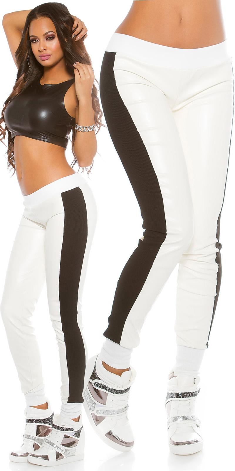 Pantaloni sport la moda cu imitatie piele