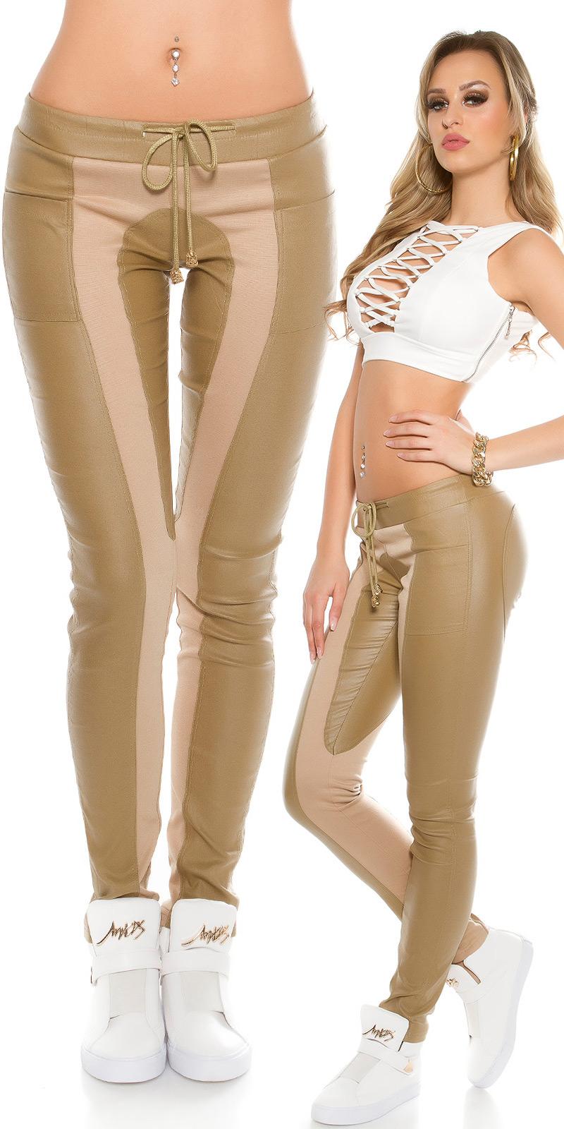 Pantaloni sport la moda in piele ecologica & fabric app