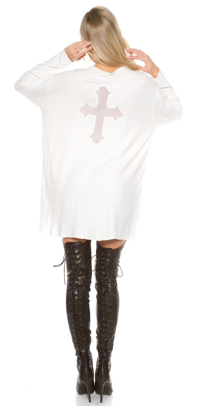 Pulover la moda supradimensionat cu plasa Cross
