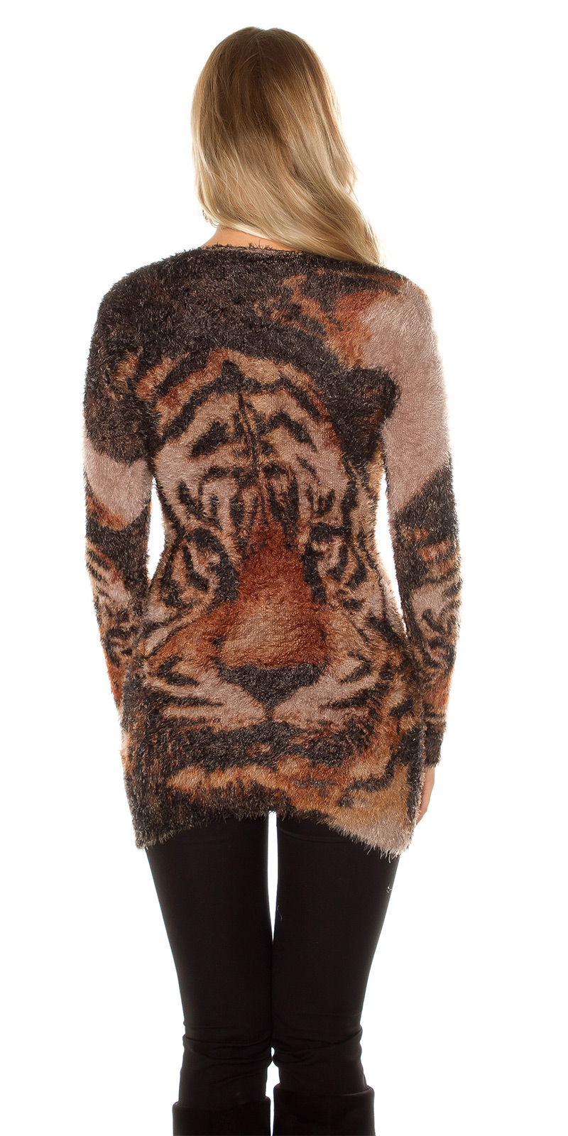 Pulover lung la moda fleecy cu tiger imprimeu