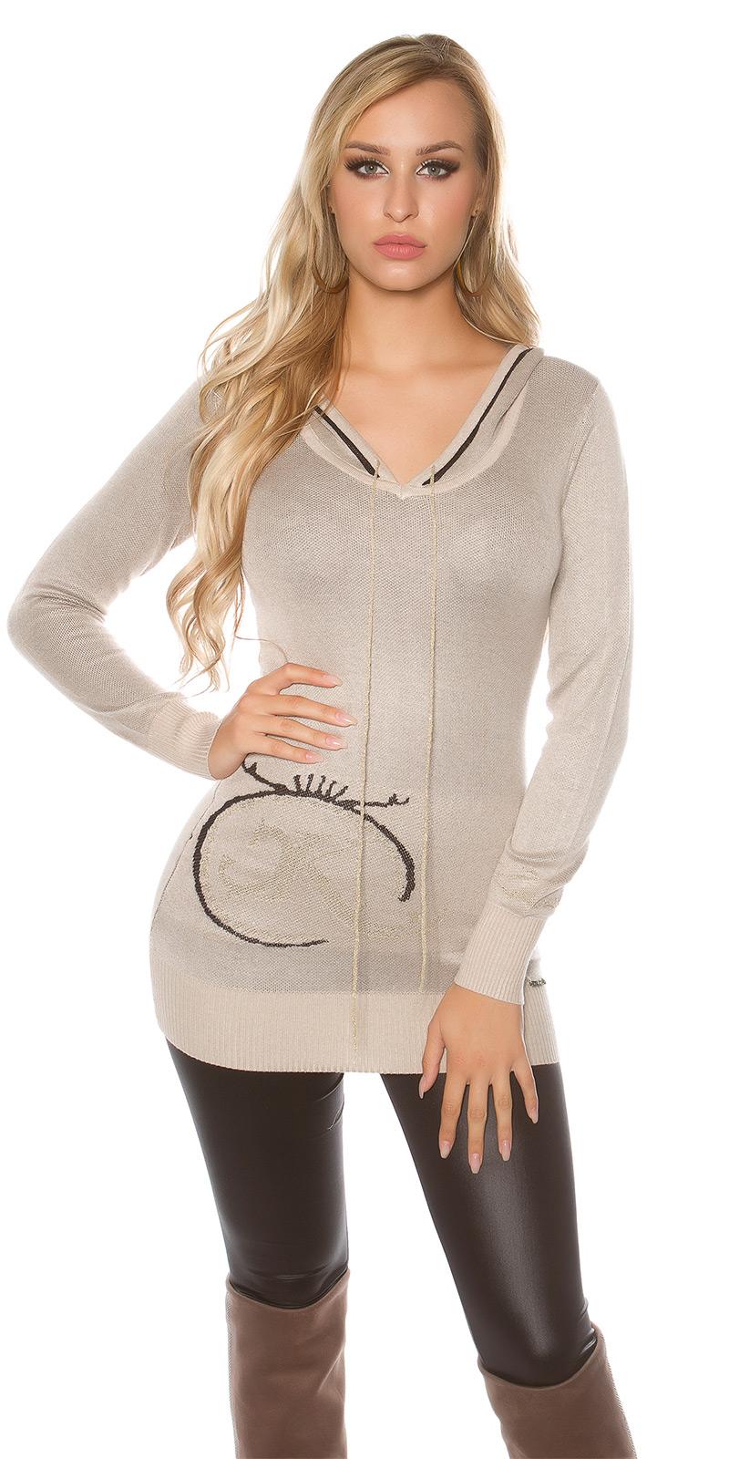Pulover sexy tricot- cu glitterprint