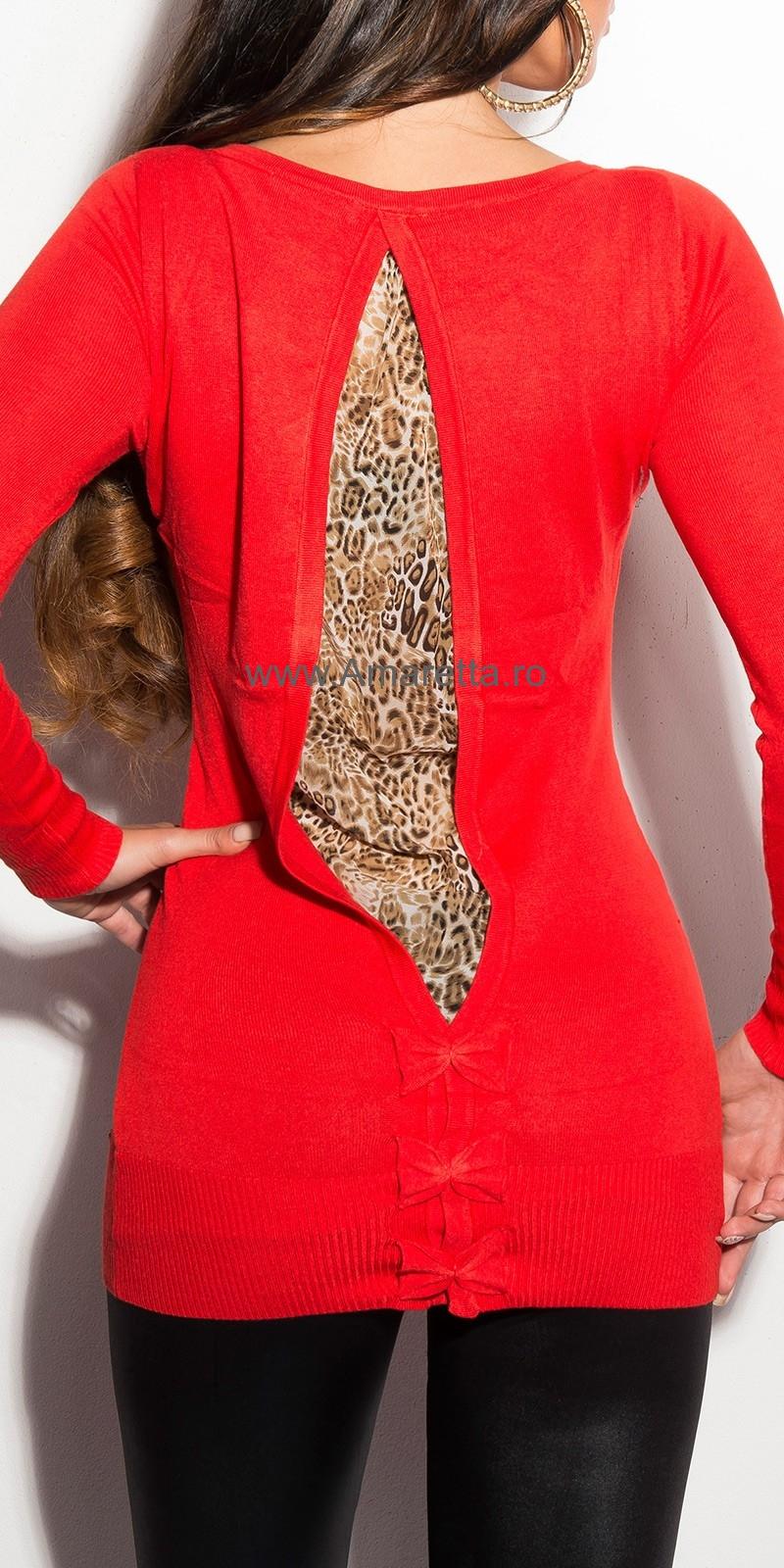 Pulovere lungi sexy cu leopard-imprimeu pe spate
