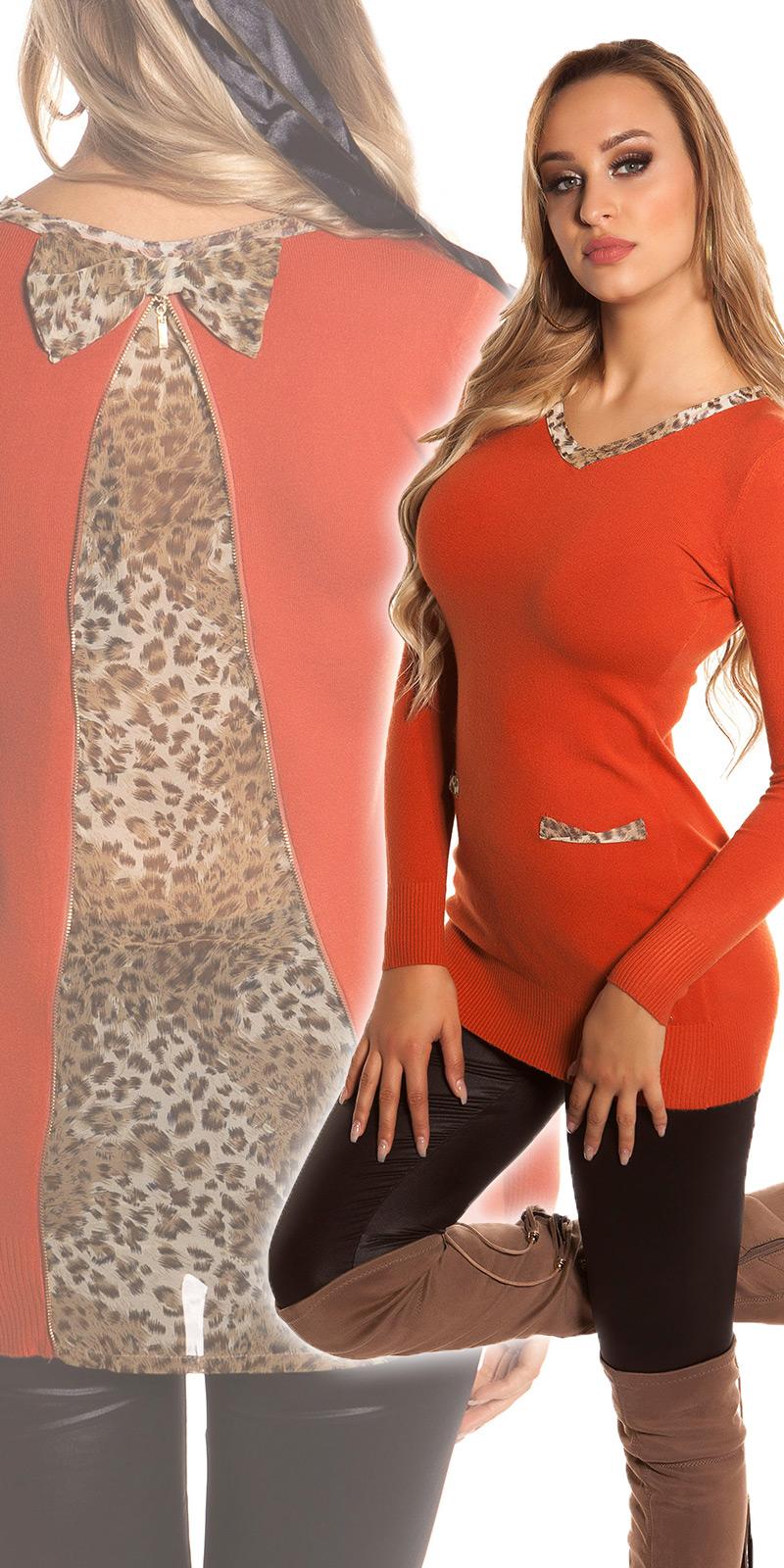 Pulovere lungi sexy +leopard-detaliu