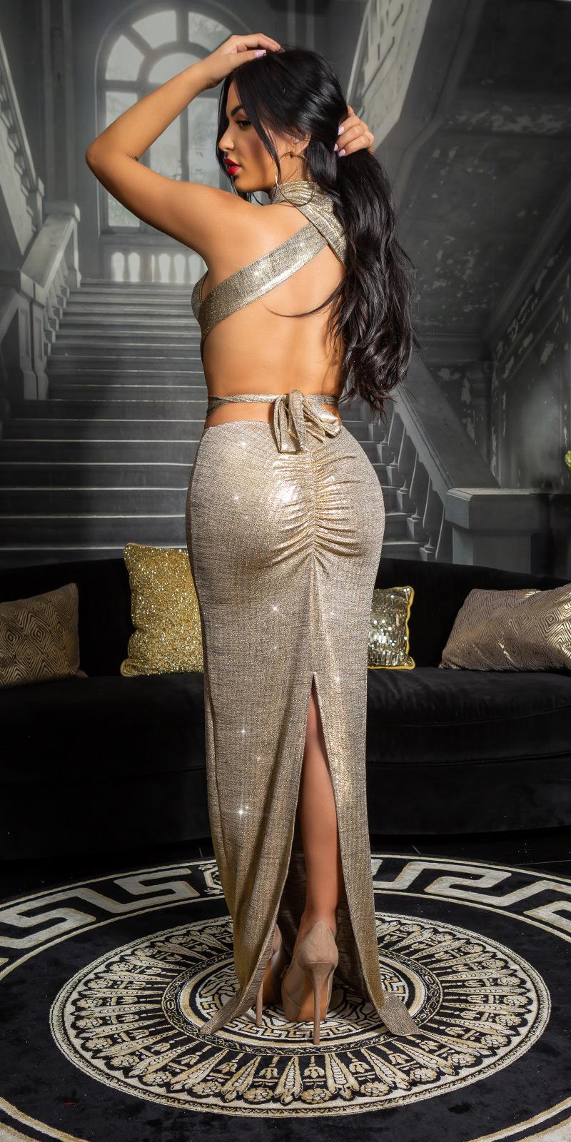 Rochie lunga sexy cu spatele gol auriu