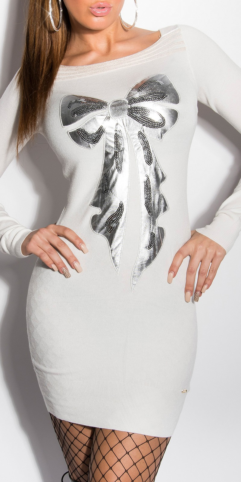 Rochie mini sexy tricot fin-cu paiete-fundita