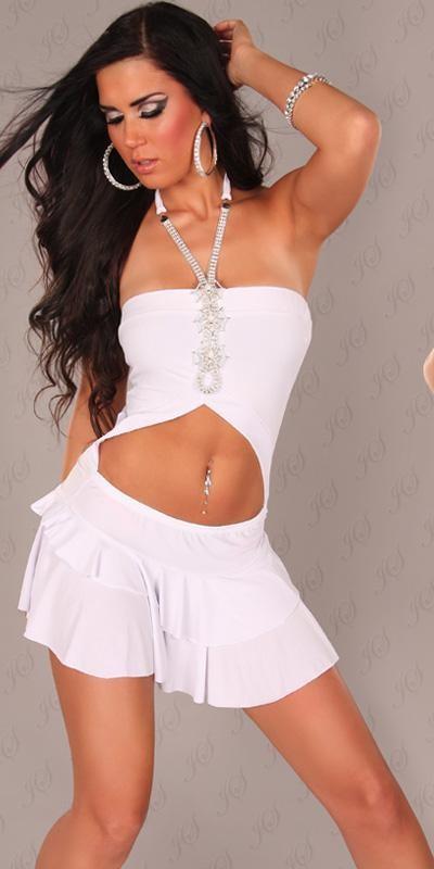 Rochie mini Sexy Neck-Minidress, cu buricul gol cu strasuri