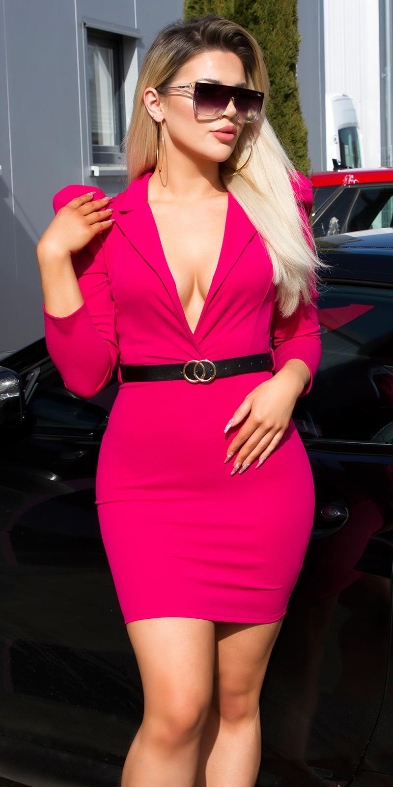 Rochie mini Sexy XL cu decolteu in v cu curea