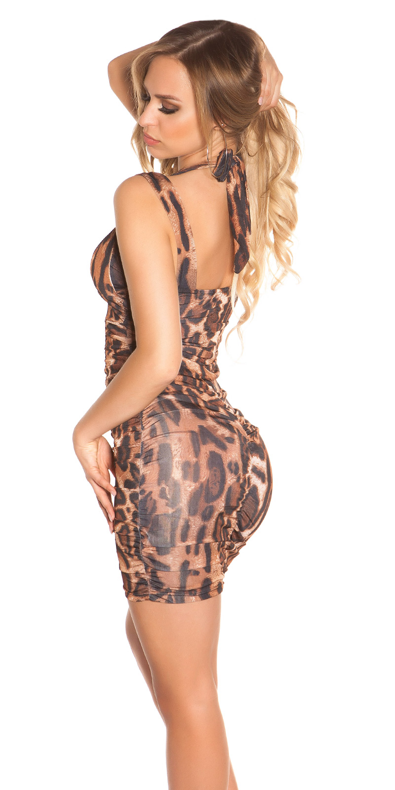 Rochie mini Sexy cu bretele la gat, cu incretituri