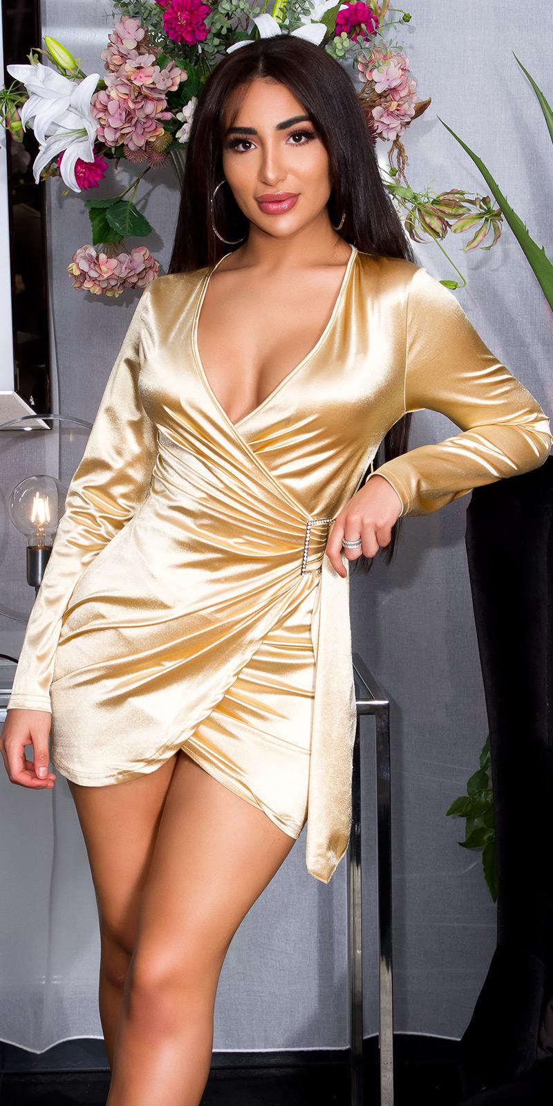 Rochie mini sexy Satin in model petrecut-look