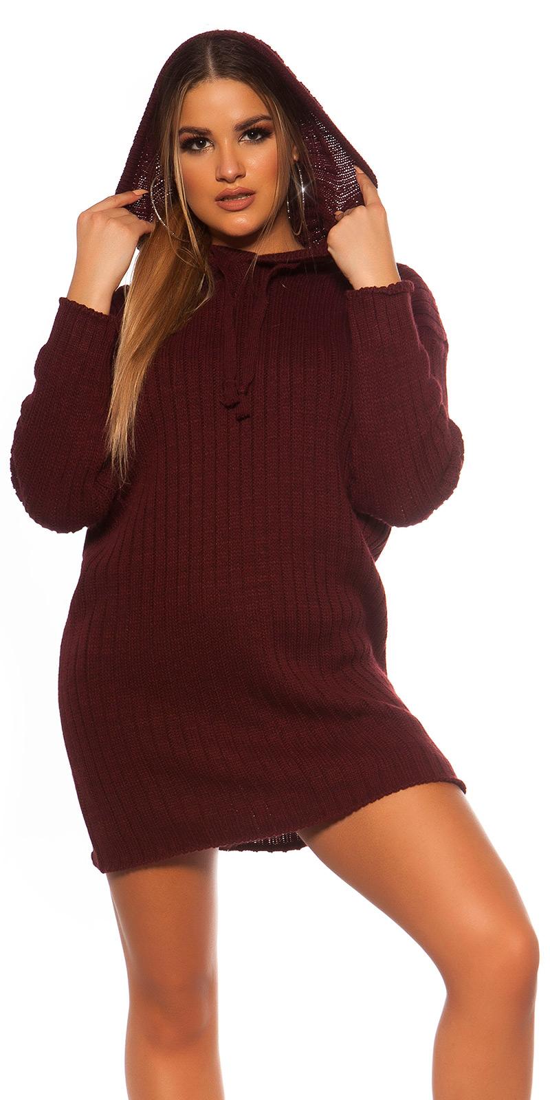 Rochie mini sexy XXL tricot cu gluga