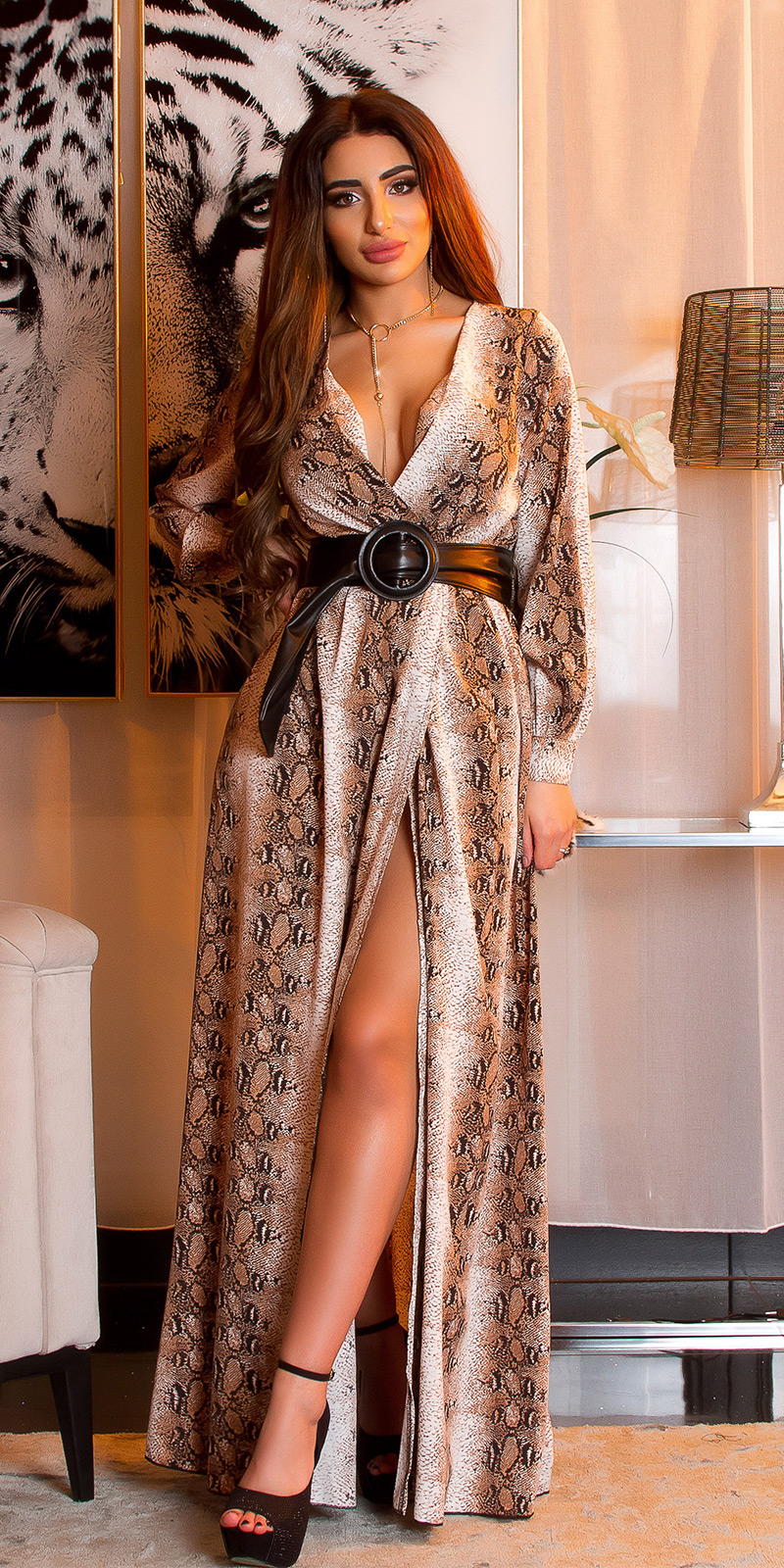 Rochie maneca lunga Sexy Maxi cu imprimeu
