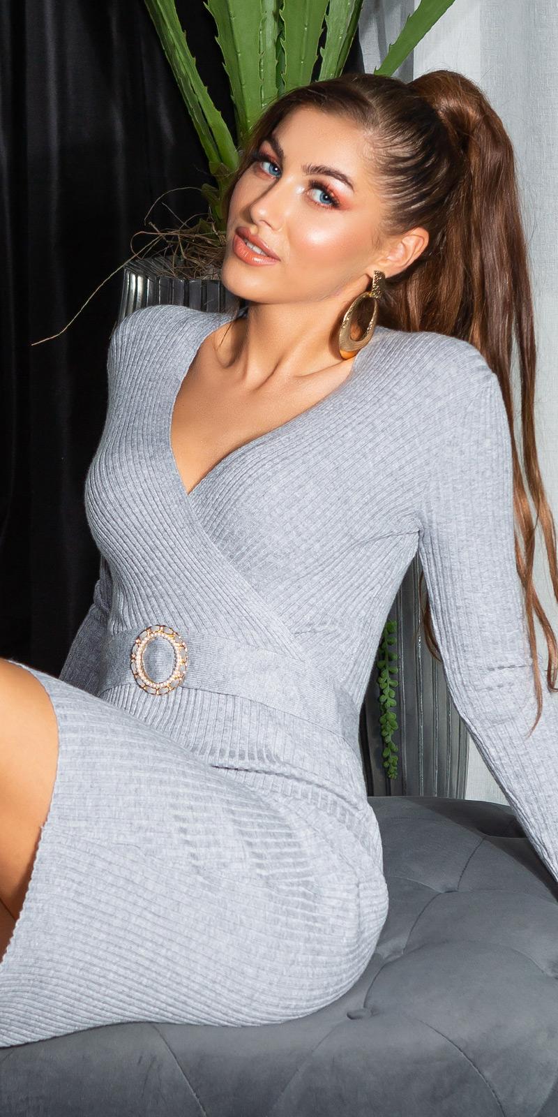 Rochii Sexy cu decolteu in v cu striatii tricot