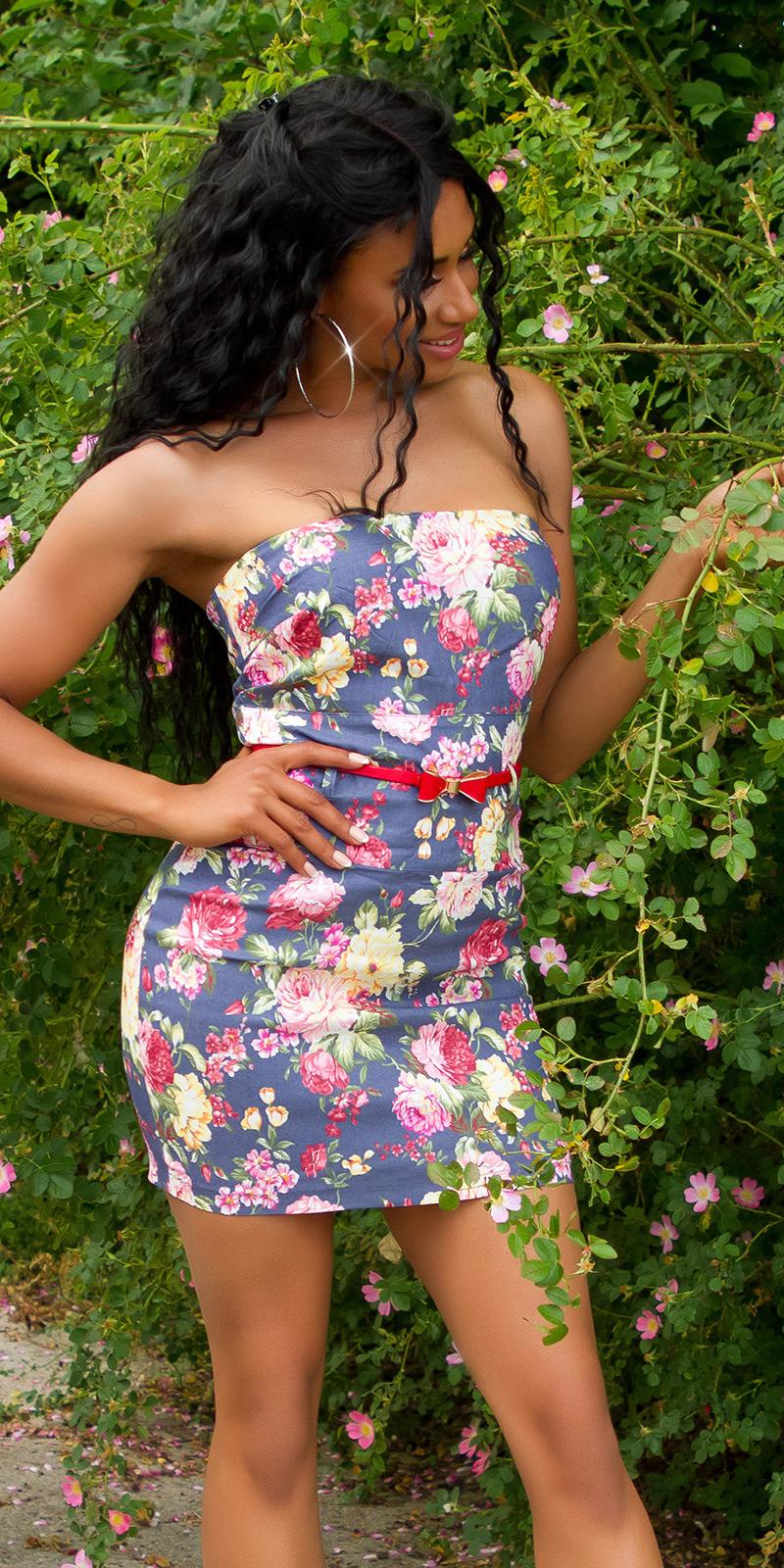 Rochii cu umerii goi mini Sexy cu imprimeu floral si curea