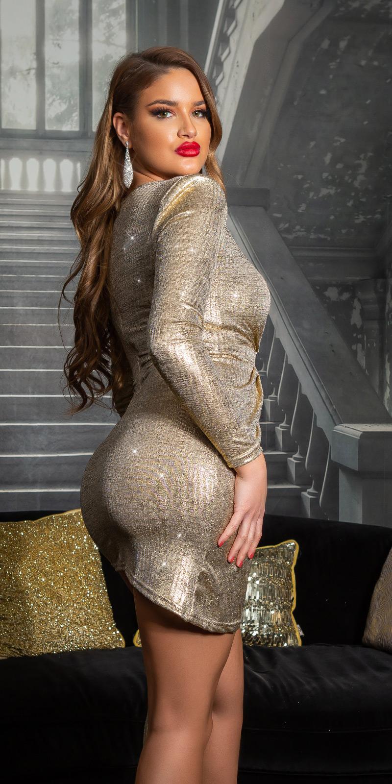 Rochii de club sexy cu decolteu in v auriu