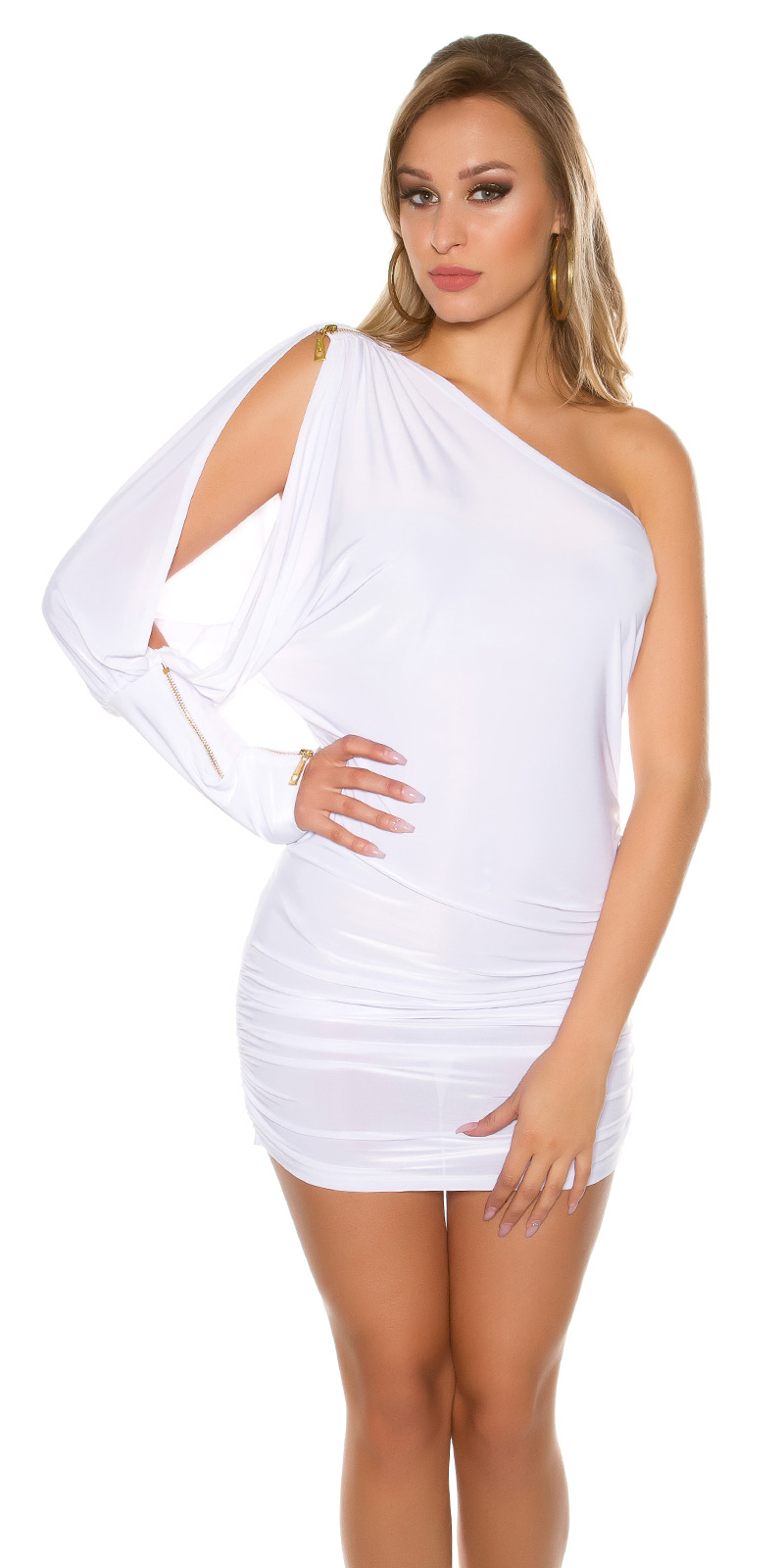 Rochii mini Sexy model asimetric cu fermoar on sleeve