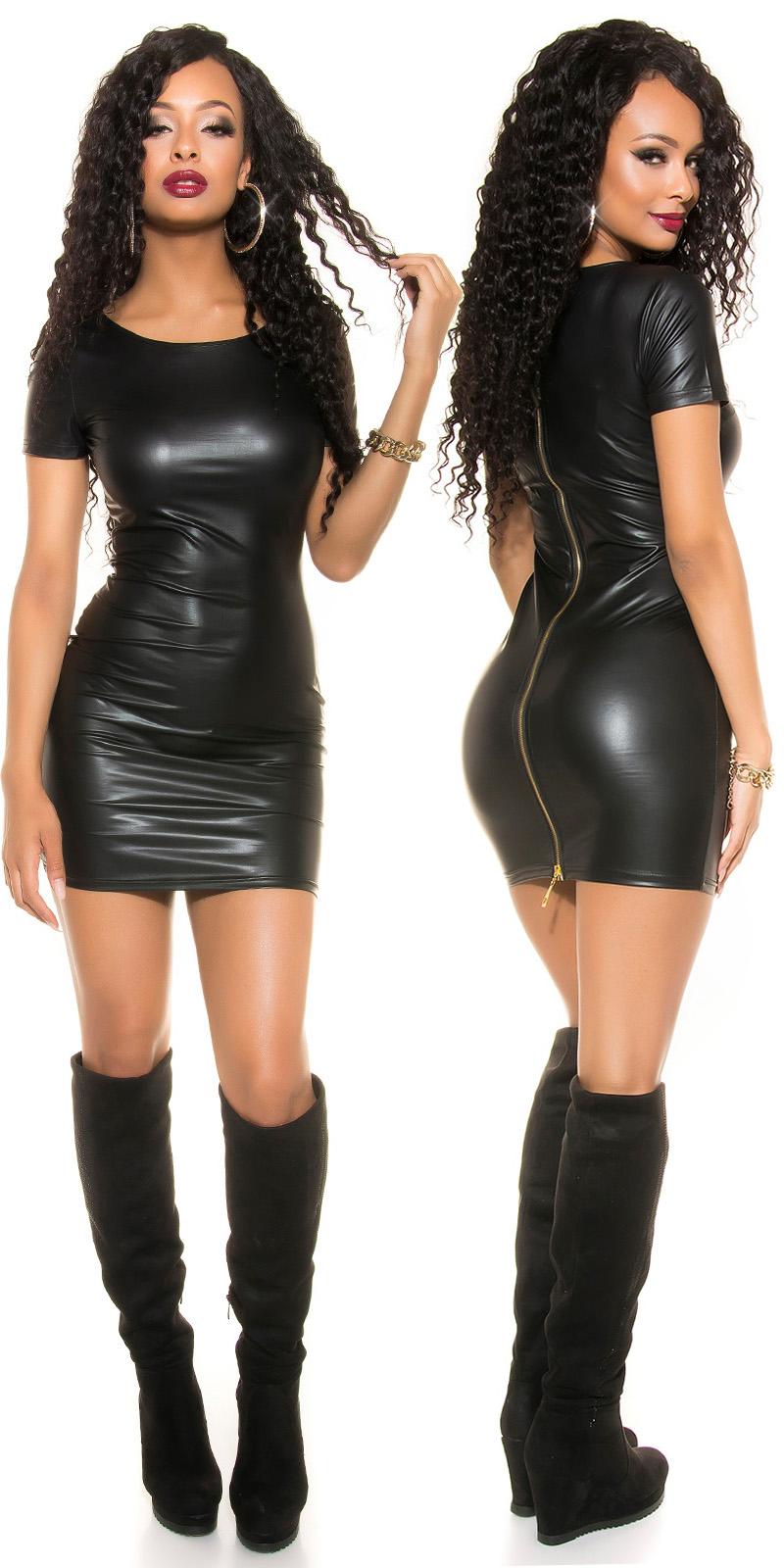 Rochii mini sexy aspect lucios cu 2Way fermoar