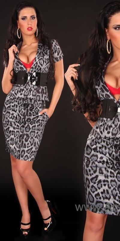 Sacouri Sexy + curea in talie in model leopard