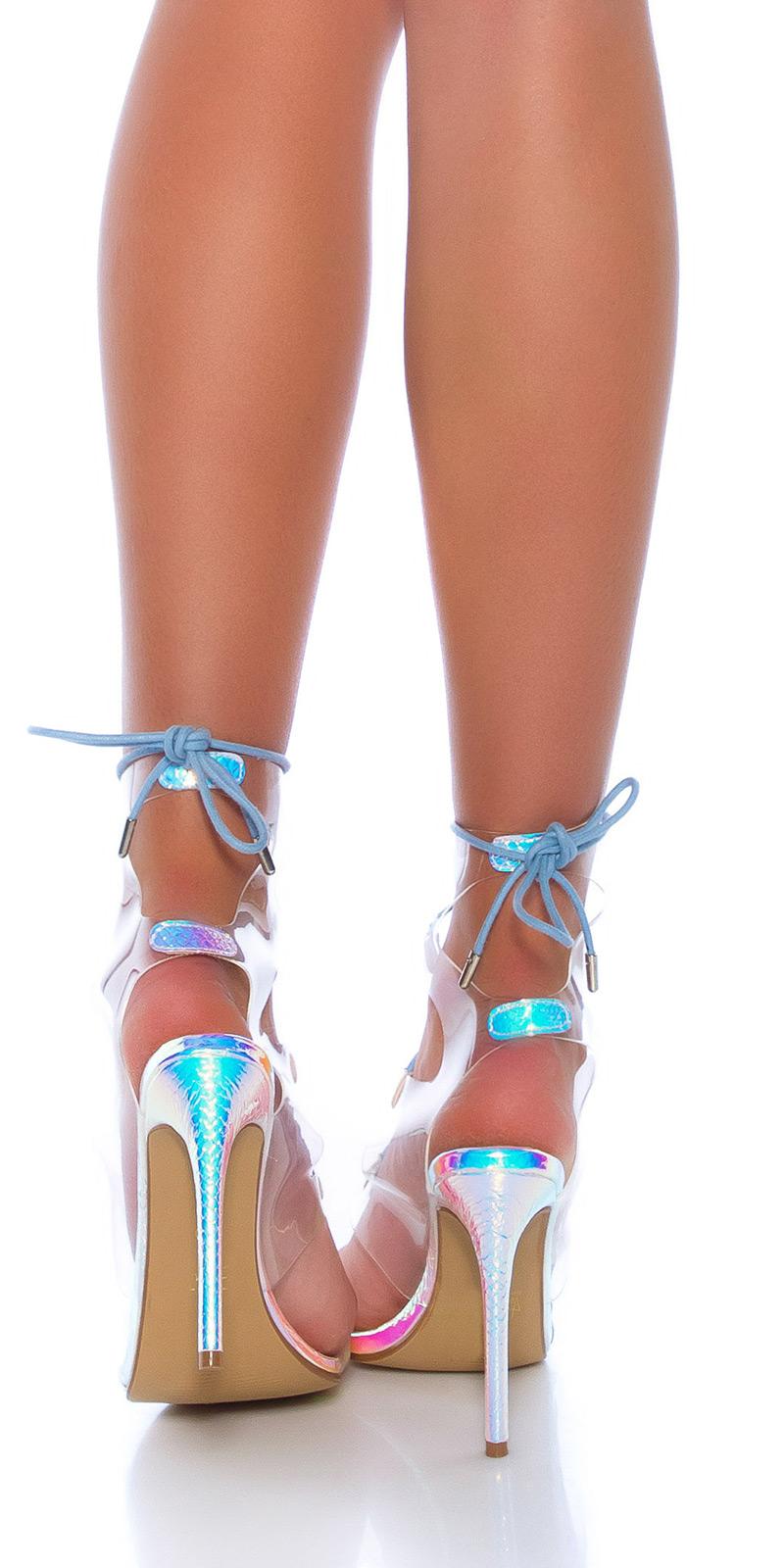 Sandale Sexy transparent cu toc cu snur la spate