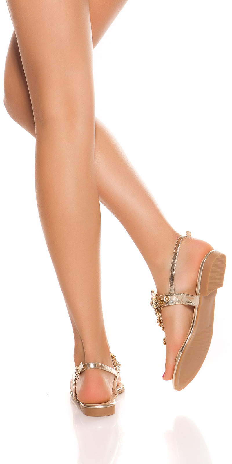 Sandale la moda Toe cu XL strasuri