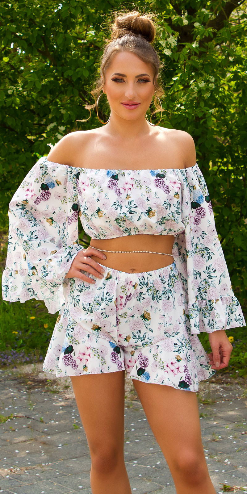 Sexy Floral Carmen Cropped Top