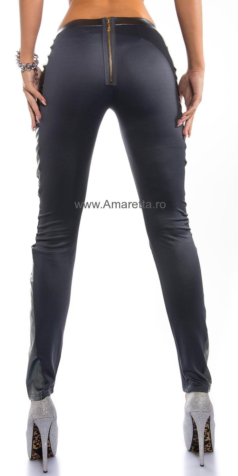 Pantaloni stramti sexy cu fermoar & piele ecologica appl.