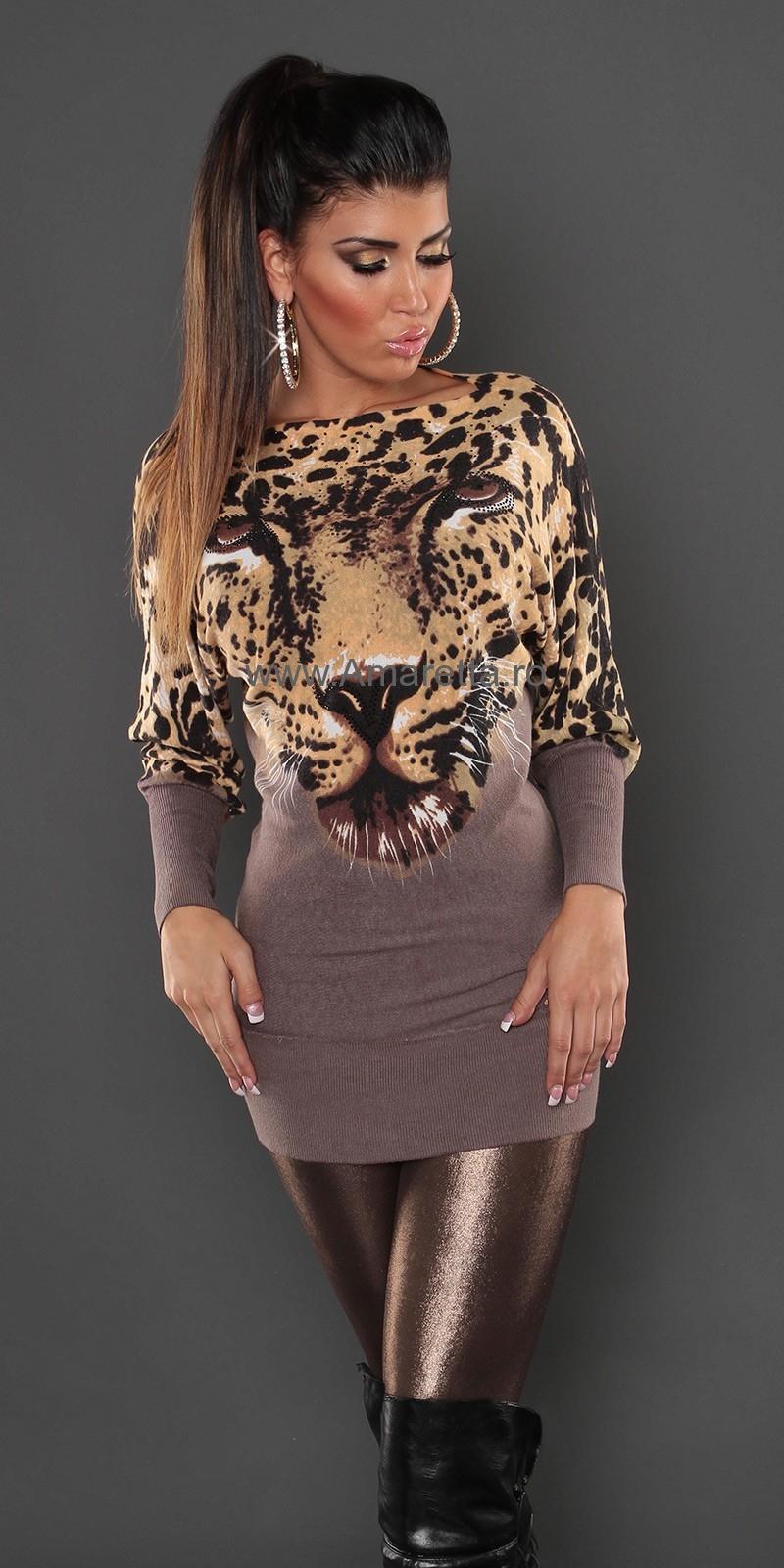 Pulover sexy cu leopard-face