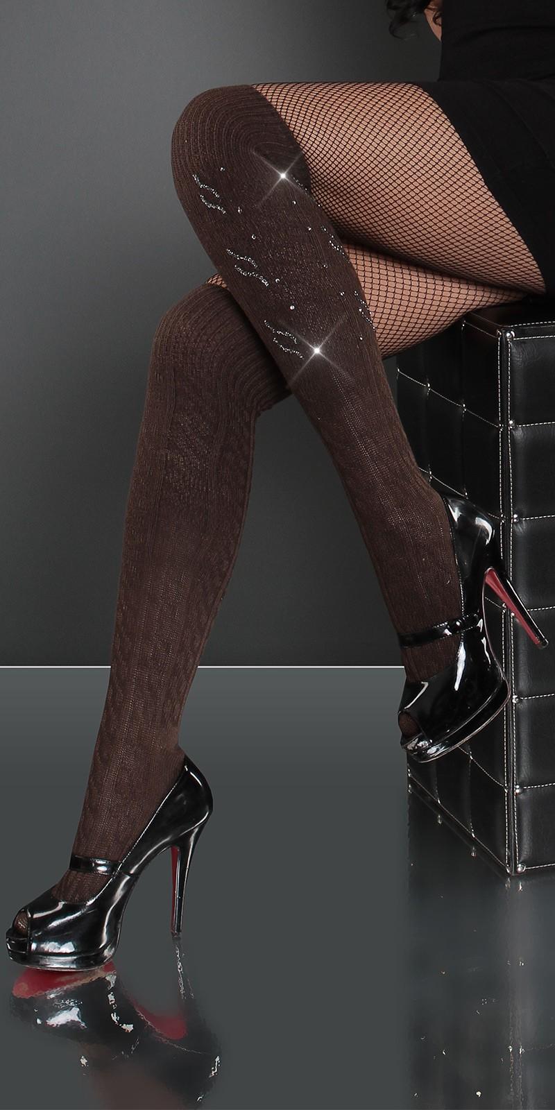 Sexy peste genunchi-socks cu strasuri design