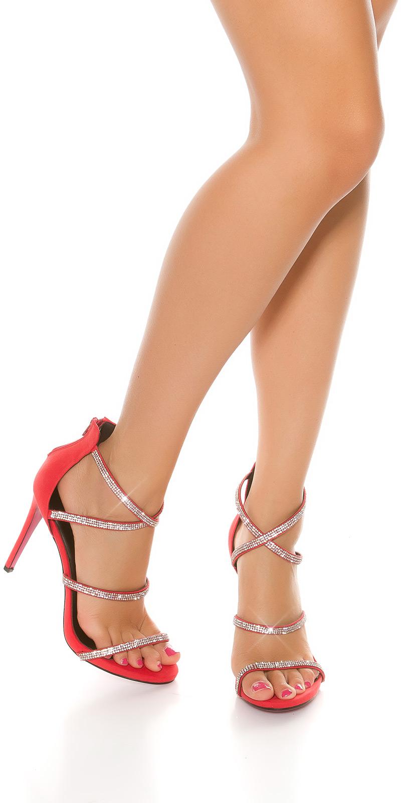 Sandale Sexy Sling cu toc cu strasuri