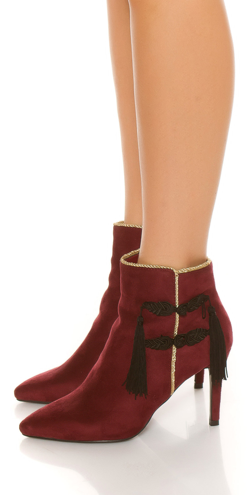 Sexy ankle boot decorative cord&auriu embellishment