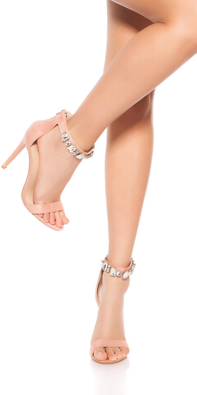 Sandale Sexy cu toc cu strasuri